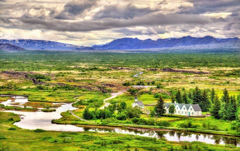 Igreja no parque nacional de Thingvellir - Islândia imagens de stock royalty free