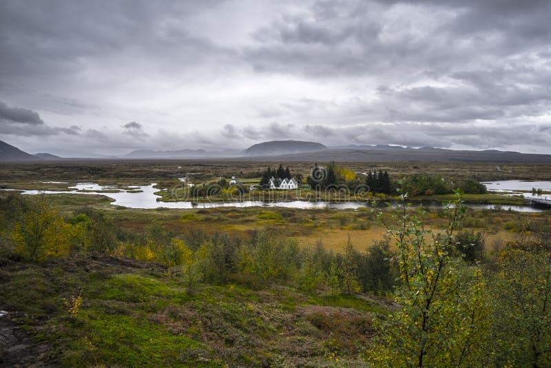 Igreja no Parque Nacional Thingvellir na Islândia fotografia de stock royalty free