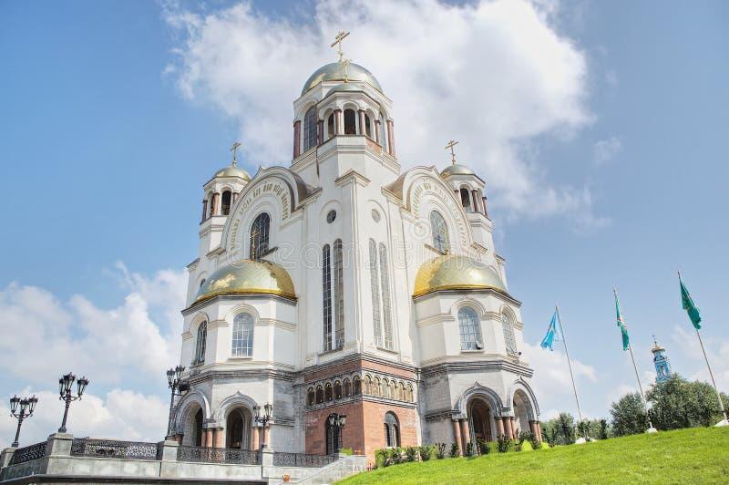 A igreja no sangue em honra de todos os Saint resplandecentes na terra do russo, cidade de Yekaterinburg, Rússia fotografia de stock