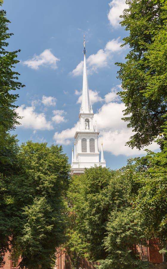 Igreja norte velha e o passeio da meia-noite de Paul Revere fotos de stock royalty free