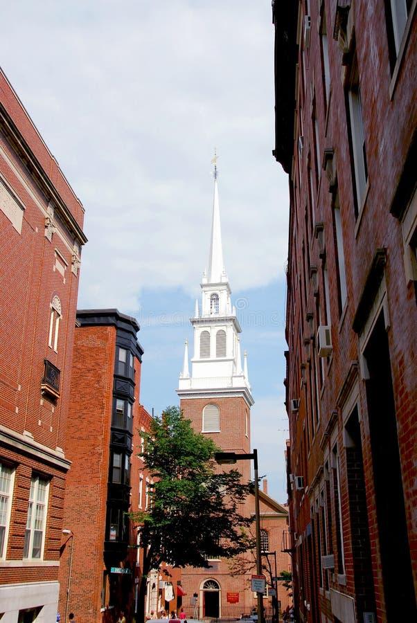 Igreja norte velha em Boston imagens de stock