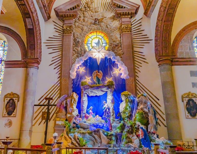 Igreja Oaxaca México de Guadalupe Temple Convent Carmen Alto do berçário do Natal da basílica fotografia de stock