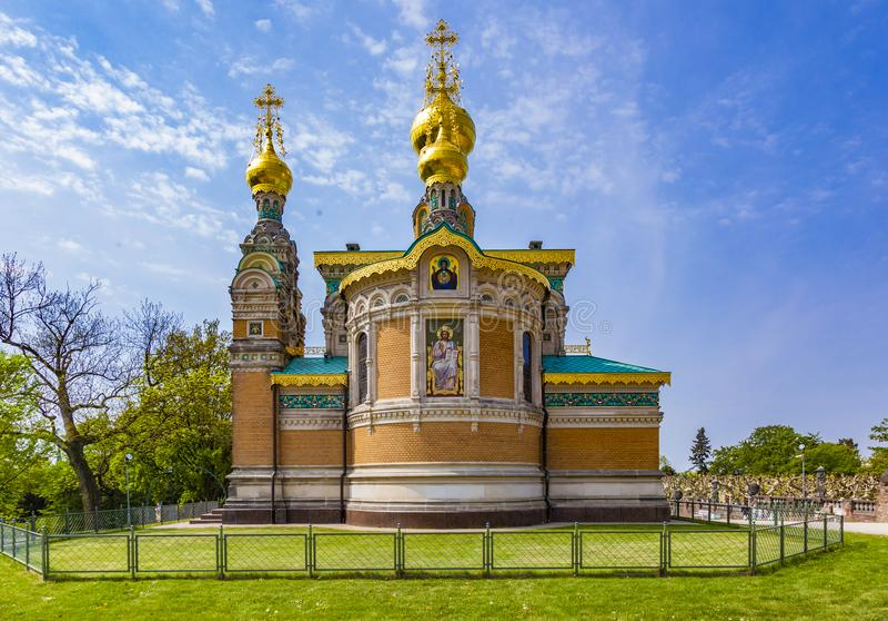 Igreja ortodoxa Darmstadt Alemanha do russo imagens de stock