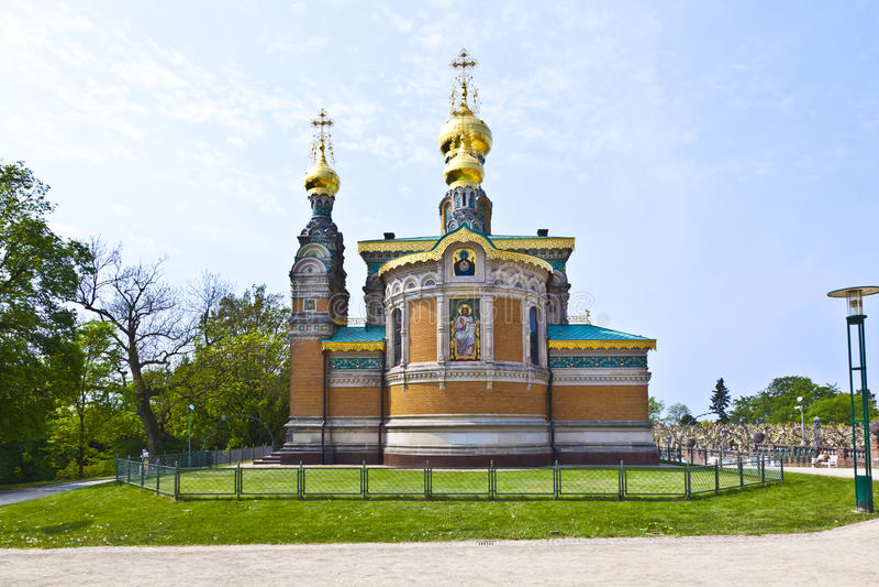 Igreja ortodoxa Darmstadt do russo foto de stock royalty free