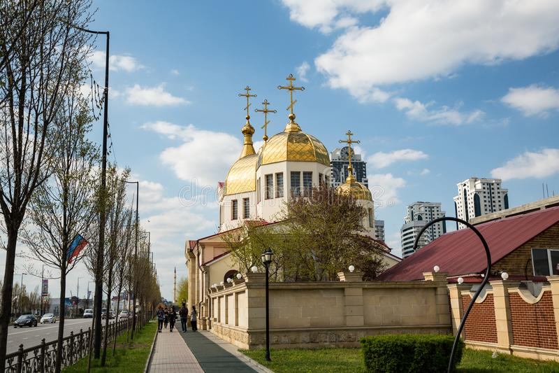 A igreja ortodoxa de Michael o arcanjo Grozny, Chechnya fotografia de stock royalty free