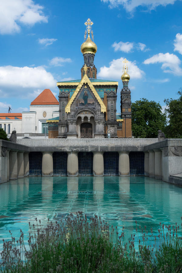 Igreja ortodoxa em Darmstadt foto de stock