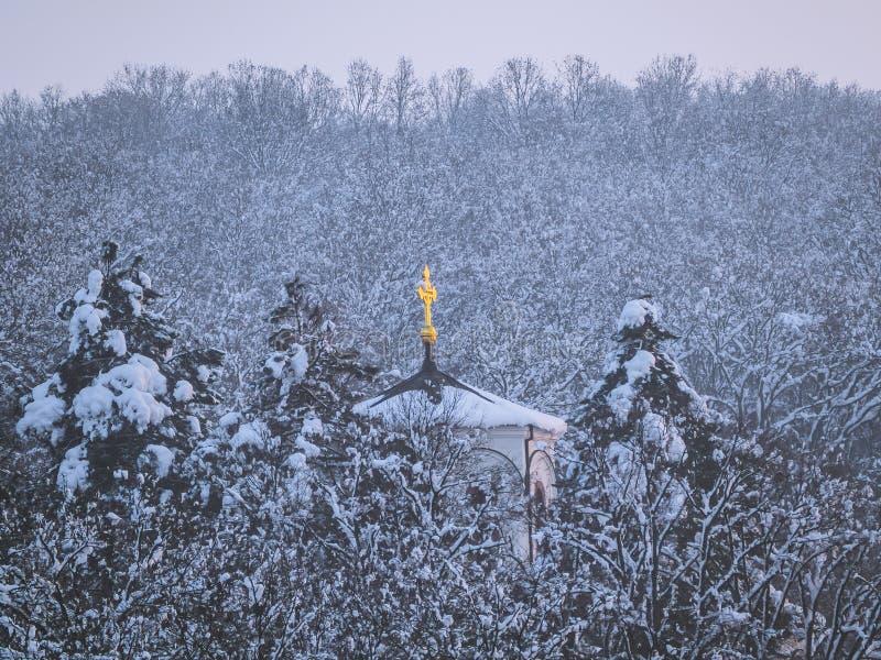 Igreja ortodoxa pequena com a cruz dourada na floresta coberto de neve imagem de stock royalty free