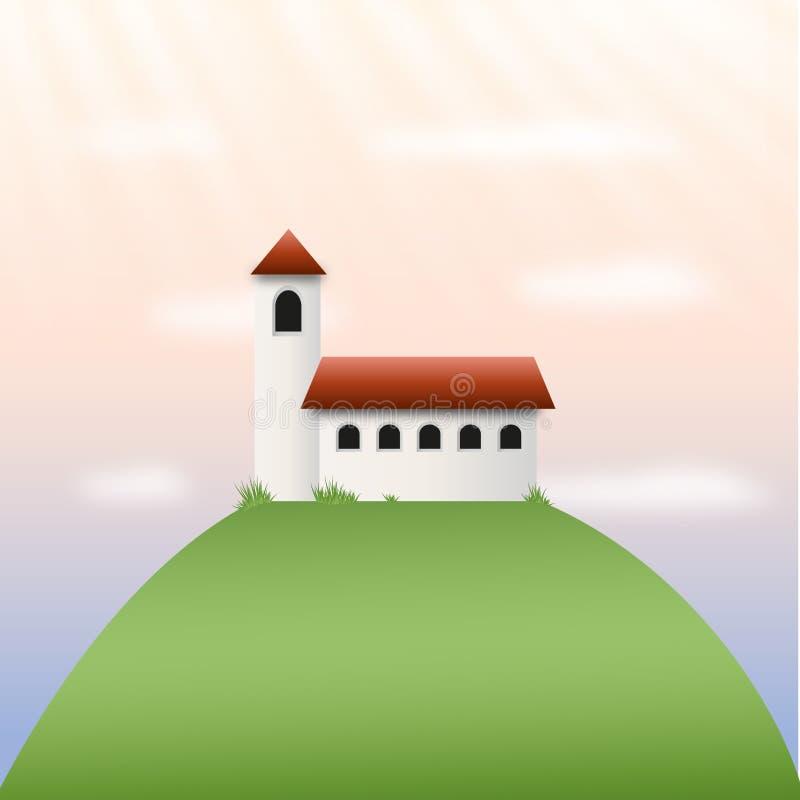 Igreja ou castelo em um monte com feixes, por do sol ou nascer do sol do sol fotos de stock royalty free
