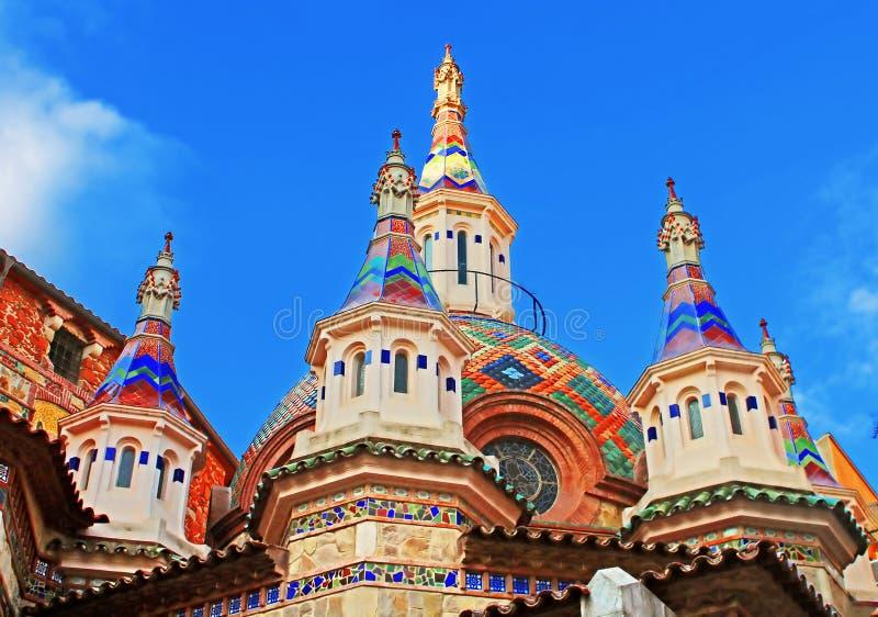 Igreja paroquial de Sant Roma, Costa Brava, Espanha fotografia de stock