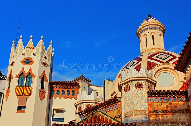 Igreja paroquial de Sant Roma. Lloret de Mar imagem de stock