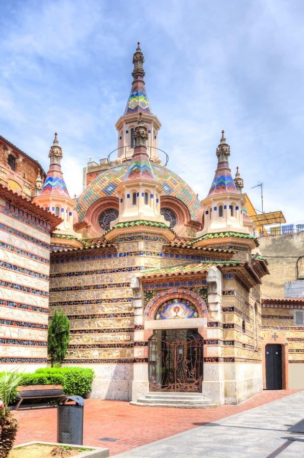 Igreja paroquial de Sant Roma, Lloret de Mar, Espanha fotos de stock royalty free