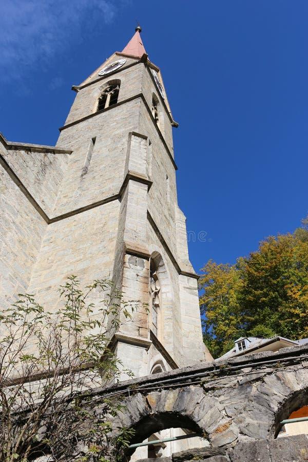 Igreja paroquial em Gastein mau, Áustria imagens de stock
