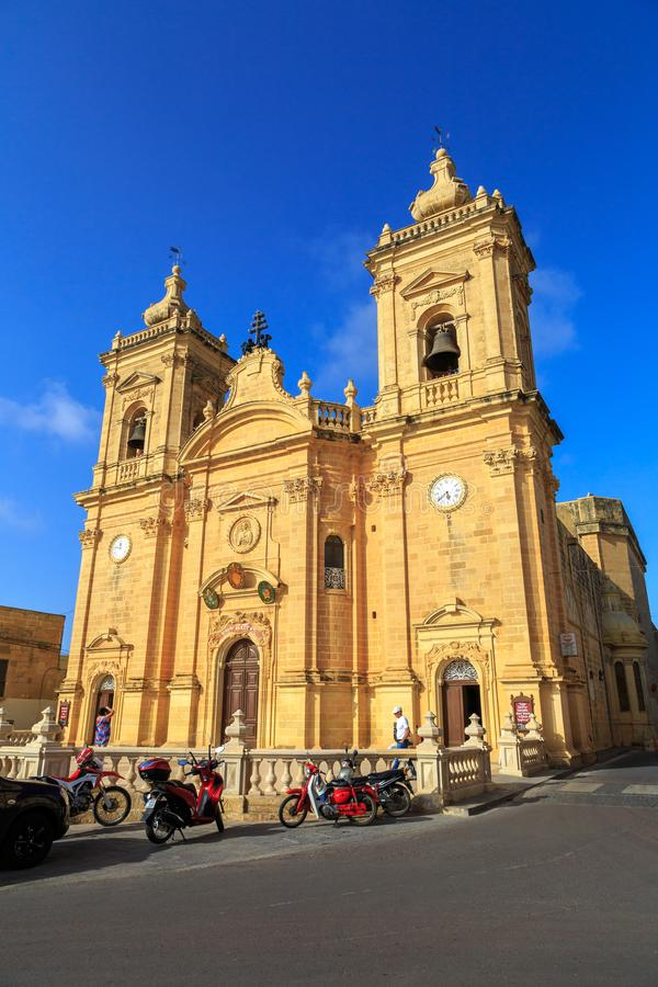 Igreja paroquial Gozo de Xaghra, Malta imagens de stock