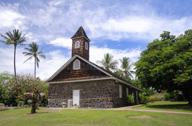 A igreja pequena da lava comemora a Páscoa, Makena, Maui, Havaí imagem de stock royalty free
