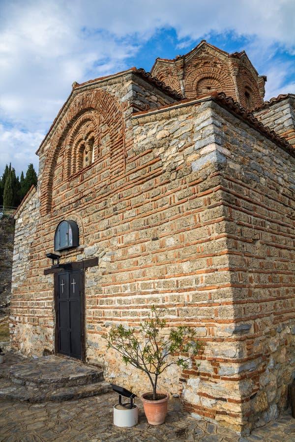 A igreja pequena de St John o teólogo, Ohrid, Macedônia fotos de stock