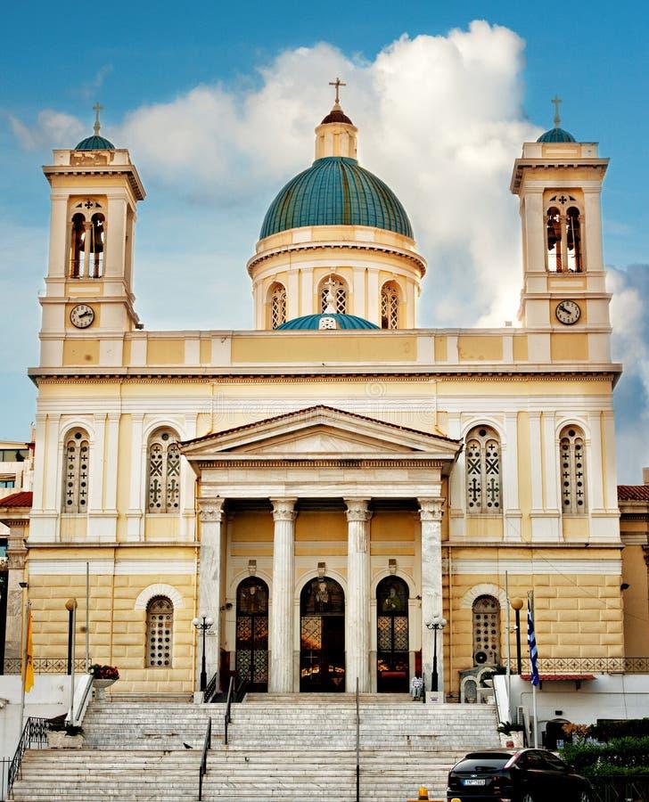 Igreja Piraeus Grécia de Agios Nikolaos imagem de stock