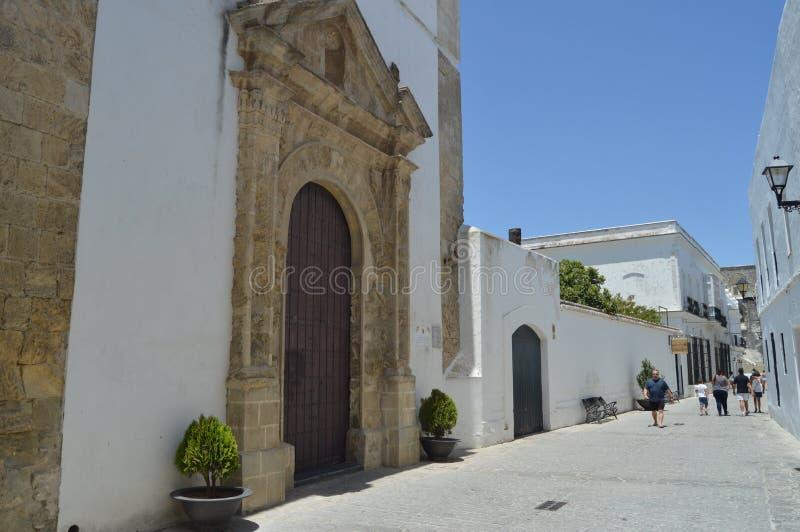 Igreja principal da fachada do convento do La Concepción na casa de campo medieval em Vejer Natureza, arquitetura, hist?ria, rua fotos de stock royalty free