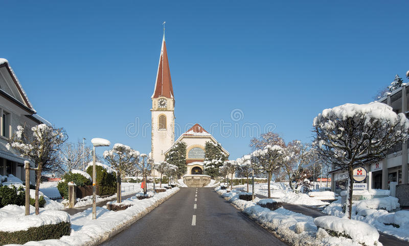 Igreja protestante em Wallisellen fotos de stock