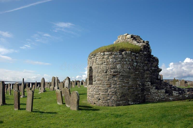 Igreja redonda em Orphir, Orkney, Scotland fotos de stock royalty free