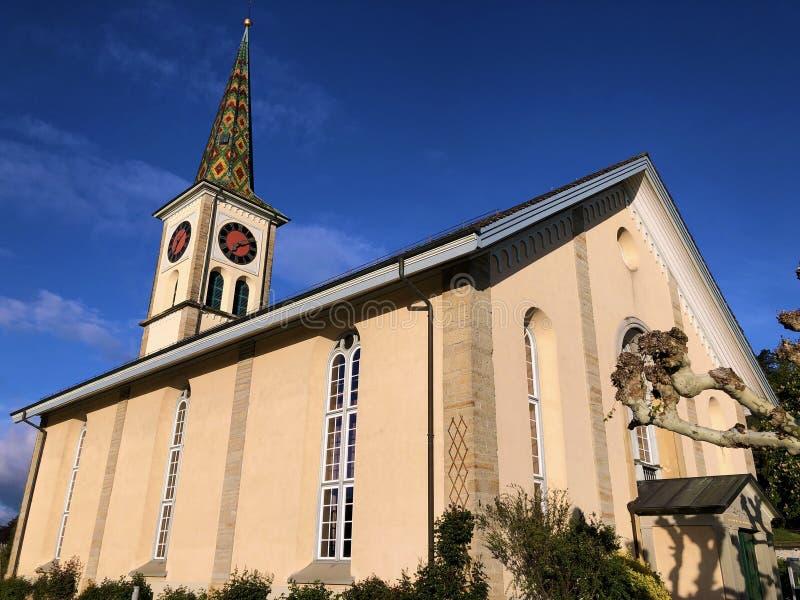 Igreja reformada evangélica do Buchberg-Rüdlingen Rudlingen ou de Ruedlingen fotografia de stock