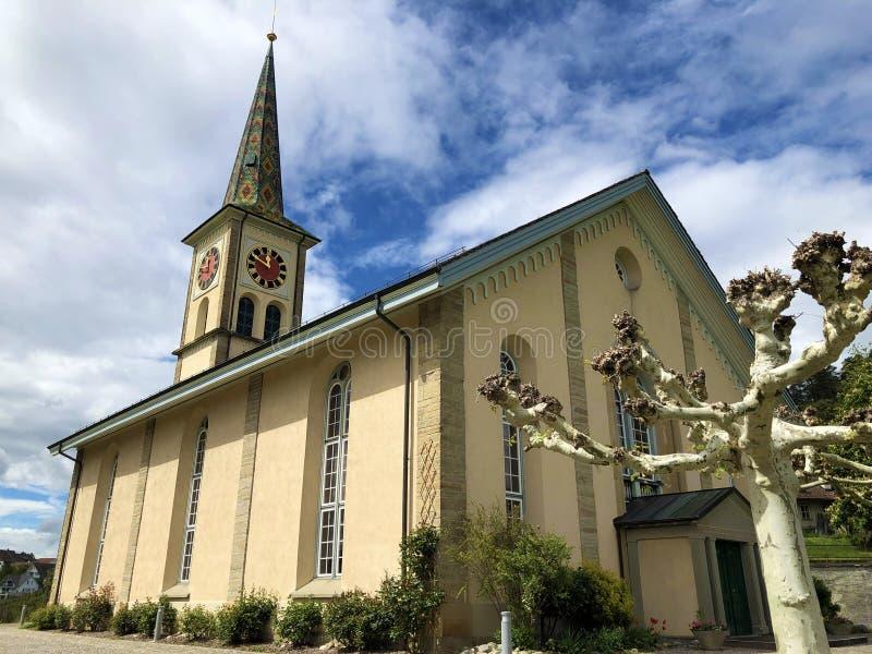 Igreja reformada evangélica do Buchberg-Rudlingen ou do Ruedlingen imagens de stock