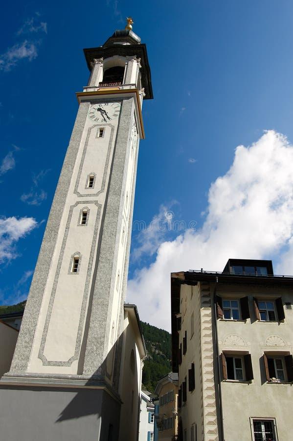 Igreja reformada Evangelical - Suíça de Samedan imagem de stock royalty free