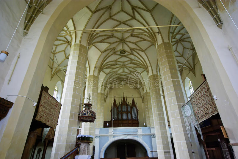 Igreja reformada - vista interior imagem de stock