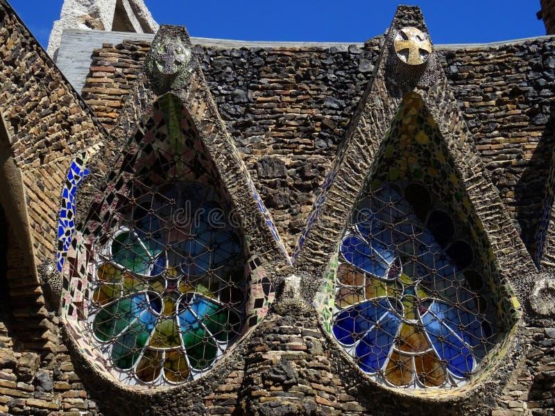 Igreja Revival de Colonia Güell Espanha imagem de stock