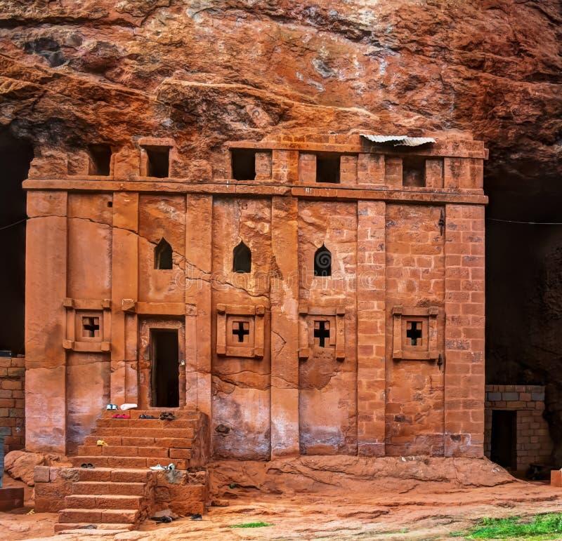 Igreja rocha-desbastada Bete Abba Libanos, Lalibela Etiópia fotografia de stock