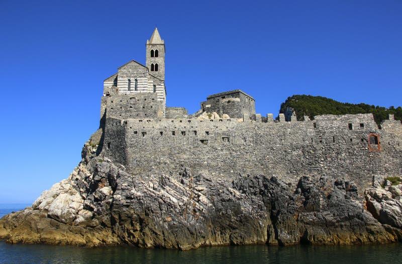 Igreja San Pietro em Portovenere no italiano Riviera, Liguria, Ital foto de stock royalty free