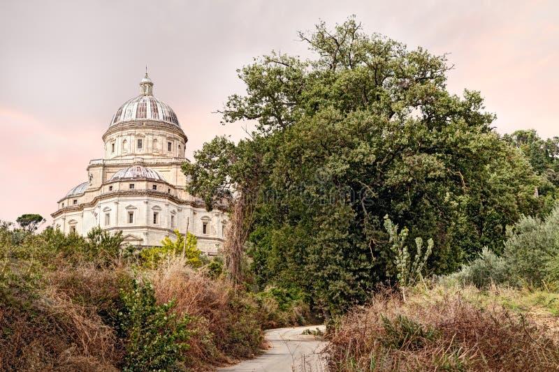 A igreja Santa Maria della Consolazione do pilgrinage em Todi, Um foto de stock royalty free