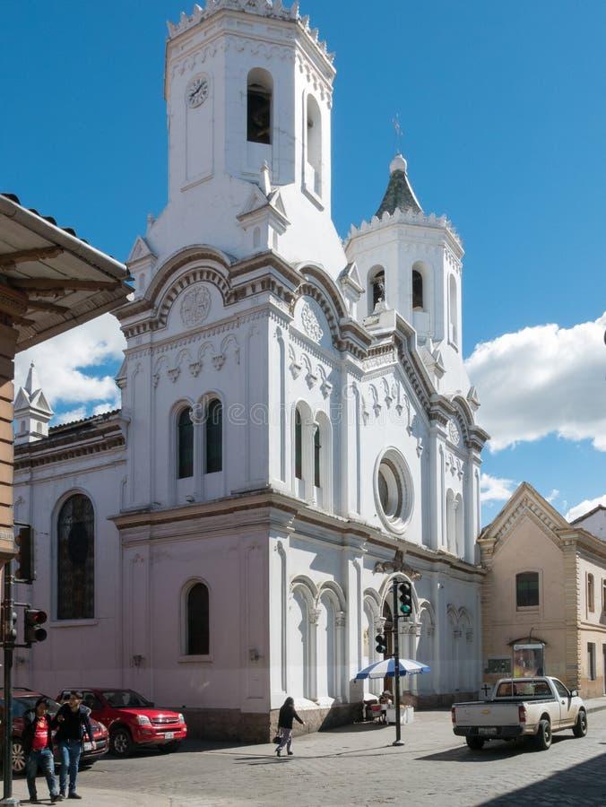 Igreja santamente do Cenacle em um dia ensolarado Cuenca Equador fotos de stock royalty free