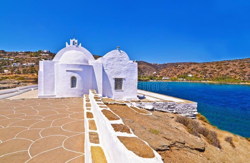 Igreja Sifnos Grécia de Panaghia Chrisopigi fotos de stock royalty free