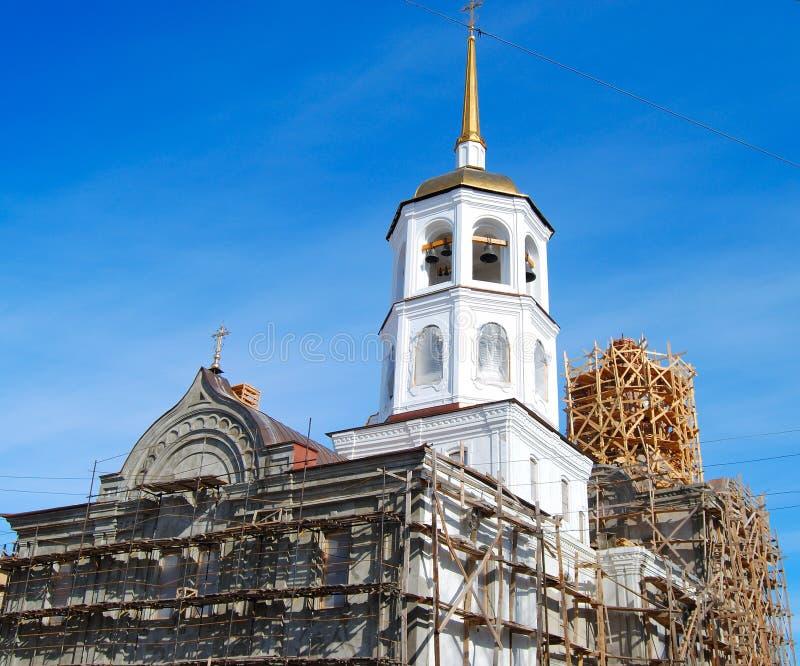 Igreja sob a construção fotografia de stock royalty free