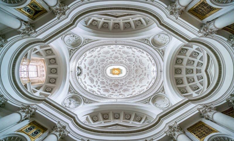 Igreja St Charles perto das quatro fontes, trabalho de Quattro Fontane do alle de San Carlo do ` s de Borromini, Roma fotografia de stock