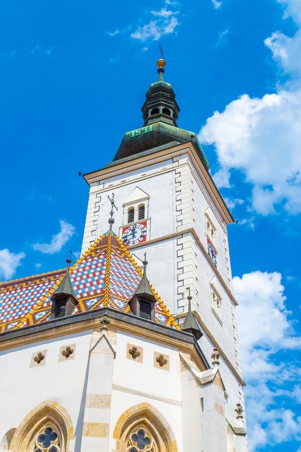 Igreja superior do ` s de St Mark em Zagreb fotografia de stock royalty free
