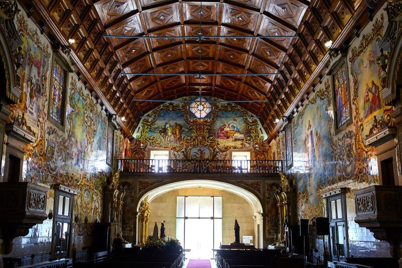Igreja surpreendente com o azulejo português em Valega, Owar, Portugal fotos de stock royalty free