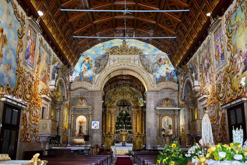 Igreja surpreendente com o azulejo português em Valega, Owar, Portugal imagens de stock royalty free