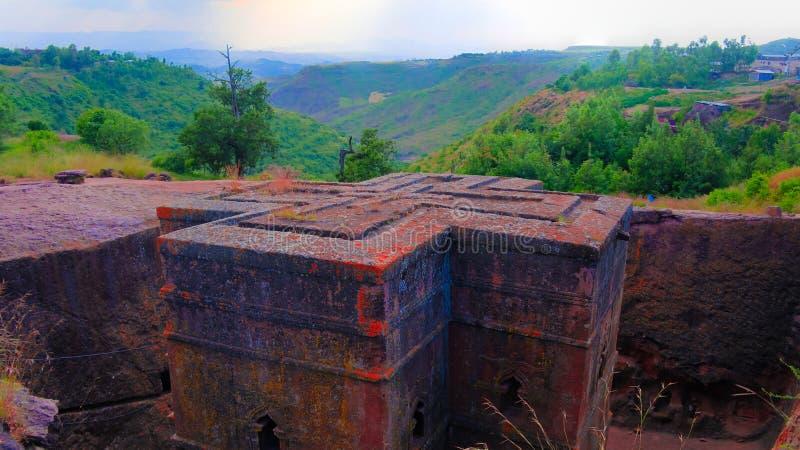 Igreja transversal escavada de St George, Lalibela em Etiópia fotos de stock