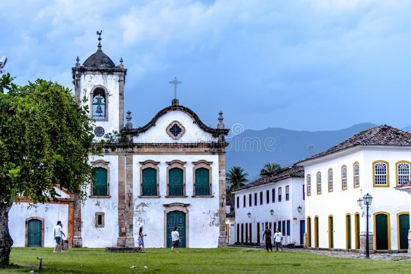 Igreja velha na cidade colonial de Paraty, Rio de janeiro, Brasil fotos de stock