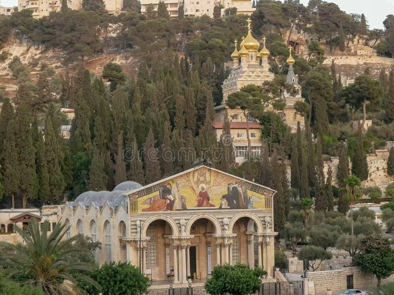 Igrejas de mary Magdalene e todas as nações em jerusalem imagem de stock