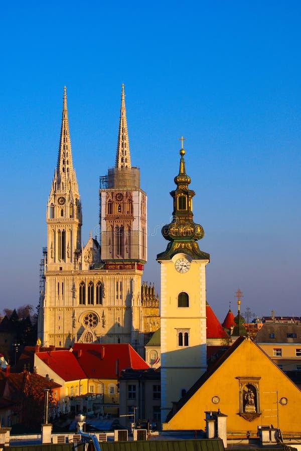 Igrejas de Zagreb, Croácia foto de stock