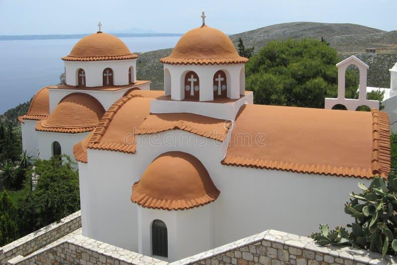 Igrejas do monastério Savvas, Kalymnos fotos de stock
