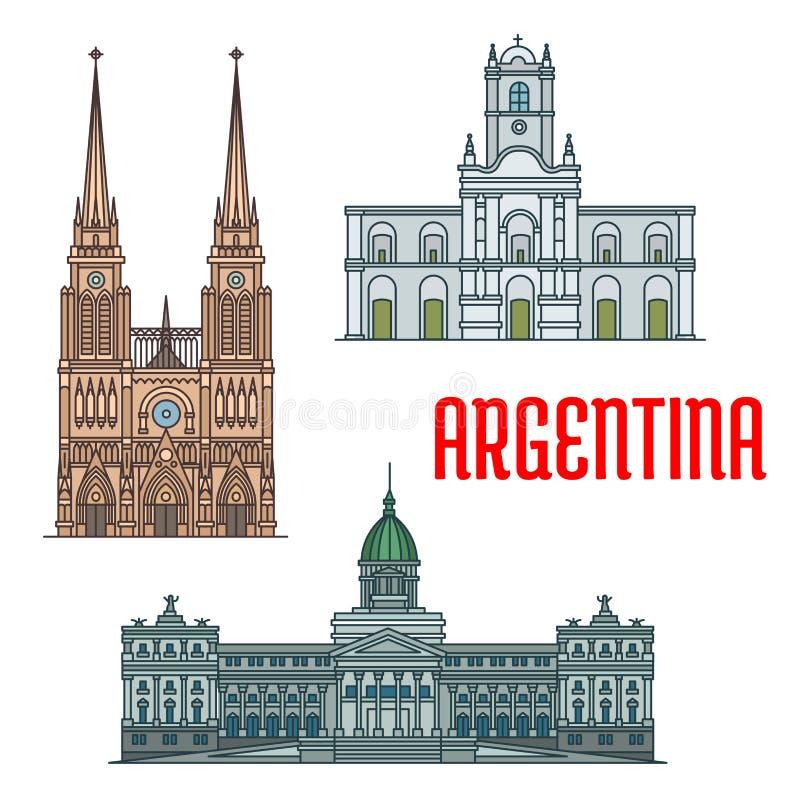 Igrejas e palácios famosos de Argentina ilustração do vetor