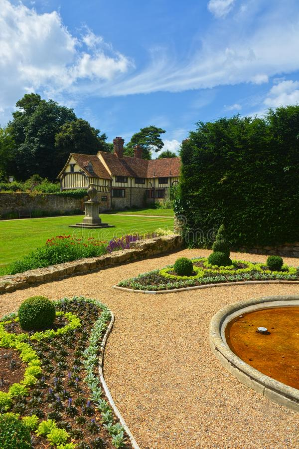 Igtham Mote. Medieval Manor House & gardens. Kent. UK. Ightham Mote in Kent UK, is an amazing 14th century medieval moated manor house with well laid out gardens royalty free stock photo