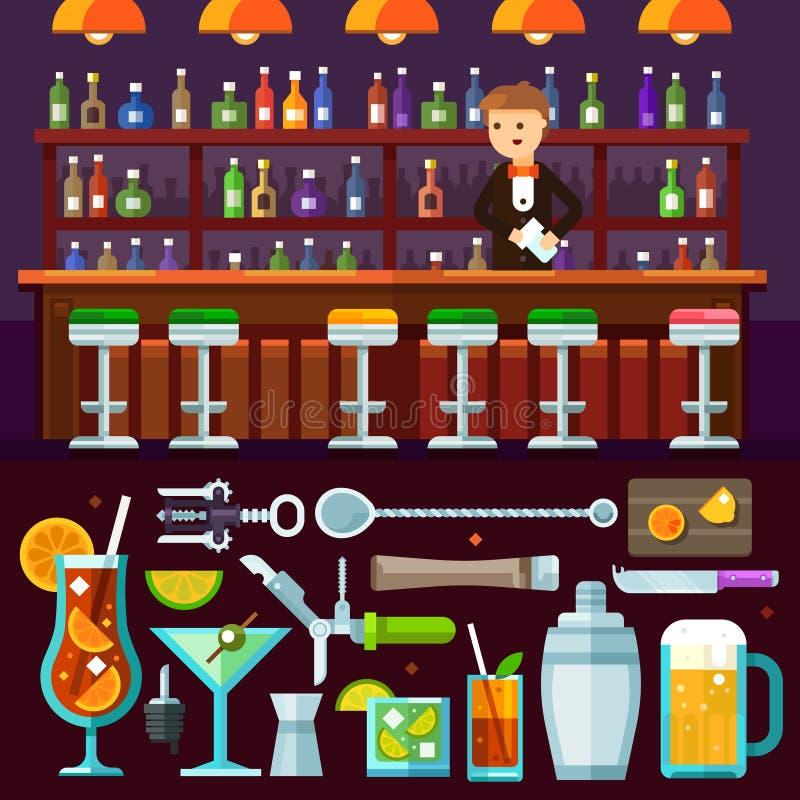 Igualación de la relajación, partido alcohólico en la barra stock de ilustración