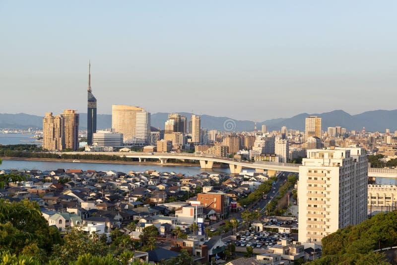 Igualación del paisaje urbano de la ciudad de Fukuoka, Japón fotografía de archivo libre de regalías