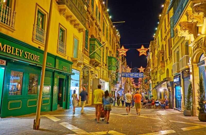 Igualación del paseo en calle de la república, La Valeta, Malta fotos de archivo libres de regalías