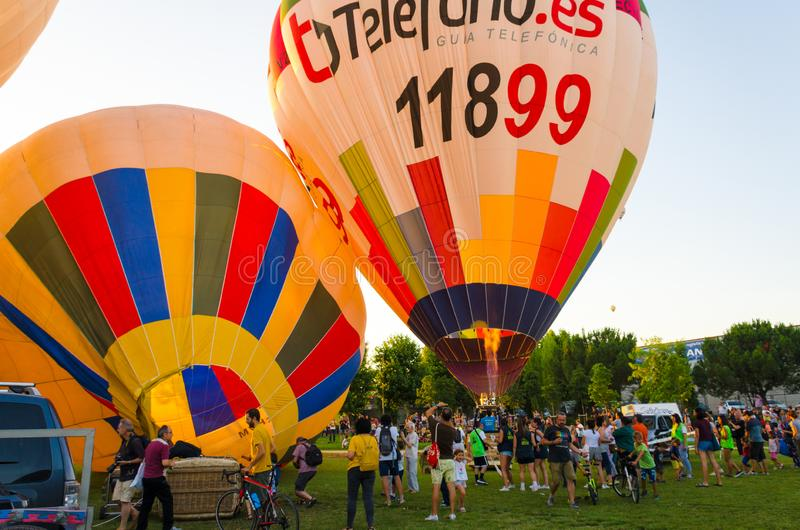 Igualada, Barcelona, July 12, 2019, 23rd European Balloon Festival. Hot air balloon festival, competition flights. Concentration of aerostatic balloons from stock photo