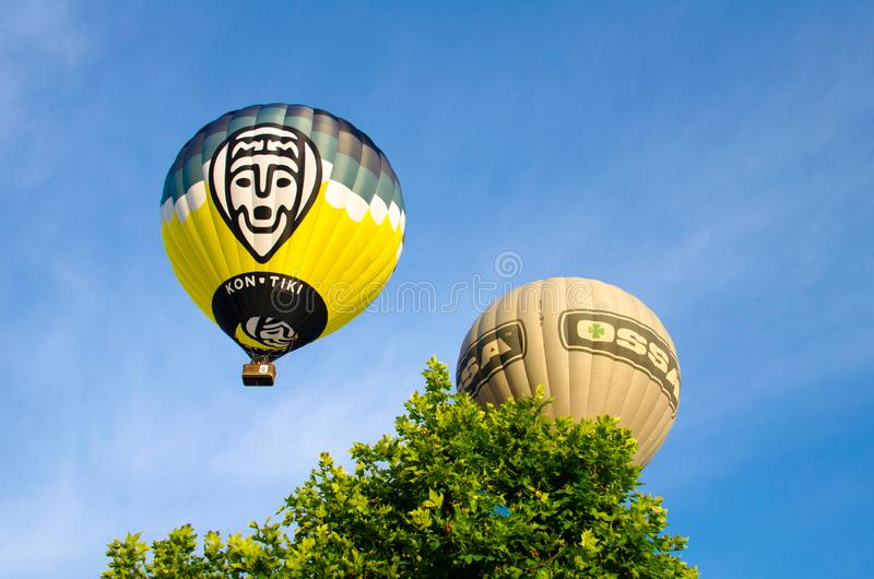 Igualada, Barcelona, July 12, 2019, 23rd European Balloon Festival. Hot air balloon festival, competition flights. Concentration of aerostatic balloons from stock image